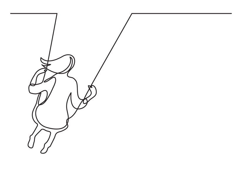 continuous line drawing of girl swinging on swing