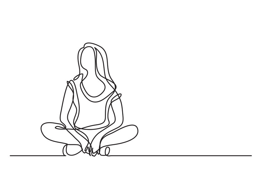 woman sitting relaxed - continuous line drawing